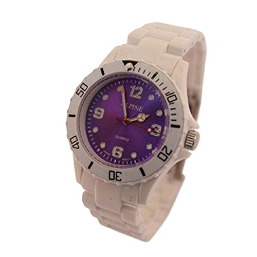 Toy Style Fashion Wrist Watch Boy's Girl's White With Purple Face 1-Year Warranty! With One Extra Battery from Alpine