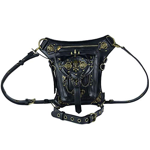 AlwaySky PU Leather Steampunk Waist Bags Gothic Personalized Bag Men and Women Hiking Fanny Pack Mini Travel Pockets Black from AlwaySky