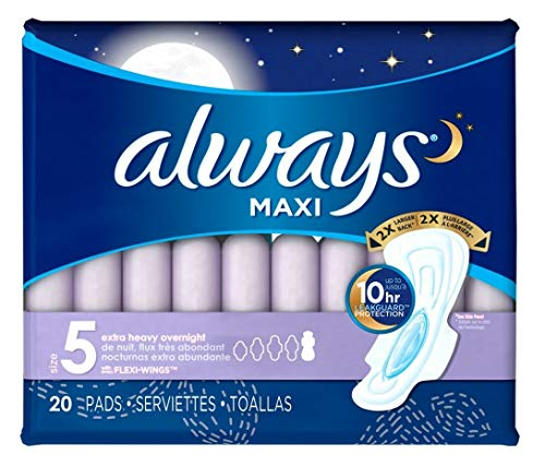 Always Extra Heavy Overnight Maxi Pads with Flexi-Wings - 20 Count from Always