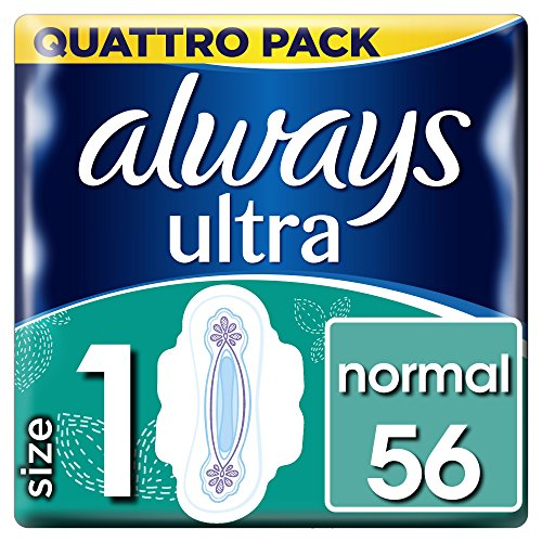 Always Ultra Normal (Size 1) sanitary towels with wings 56 Pack from Always