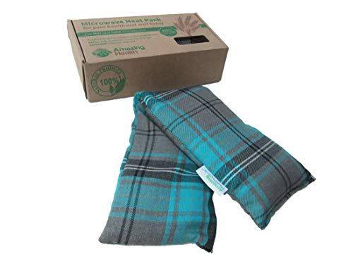 Heat Pack Cotton Tartan Microwave Wheat Bag 46cm long (Unscented, Turquoise) from Amazing Health