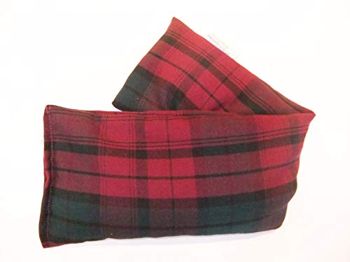 Unscented Microwave wheat bag - UK Made Heat Pack - NON Scent in Plum Tartan Cotton Gift Box from Amazing Health