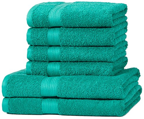 AmazonBasics Fade Resistant Towel Set, 2 Bath and 4 Hand - Teal Green, 500gsm from AmazonBasics