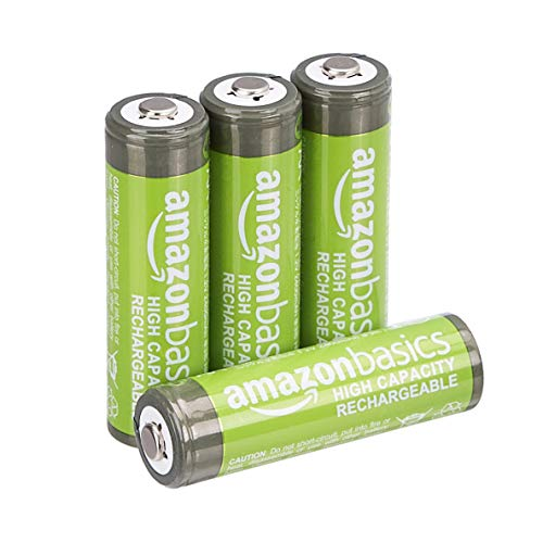 AmazonBasics AA High-Capacity Rechargeable Batteries, Pre-charged - Pack of 4 (Appearance may vary) from AmazonBasics