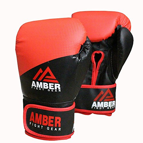 Amber Fight Gear Boxing Hook and Loop Training Gloves - Black, 6 oz from Amber Fight Gear