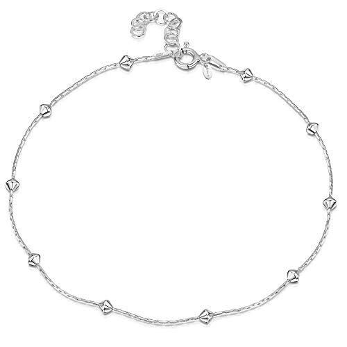 "925 Fine Sterling Silver 1 mm Adjustable Anklet - Snake Chain With Diamond Shaped Beads Ankle Bracelet - 9"" to 10"" inch - Flexible Fit from Amberta"