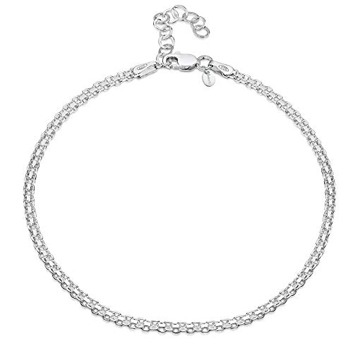"925 Fine Sterling Silver 2.2 mm Adjustable Anklet - Bismark Chain Ankle Bracelet - 9"" to 10"" inch - Flexible Fit from Amberta"