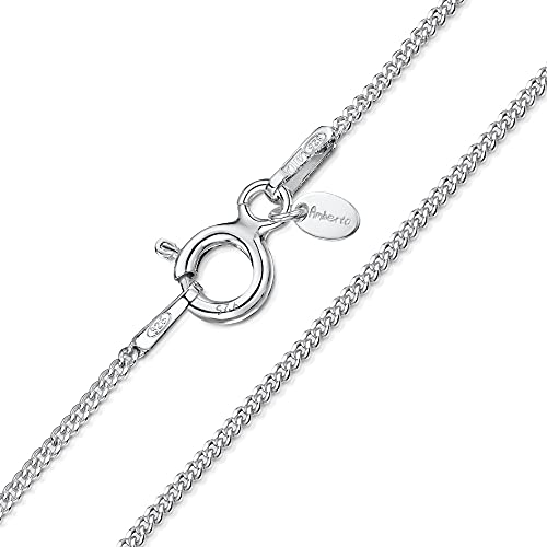 925 Sterling Silver 1.1 mm Curb Chain Necklace Size: 14 16 18 20 22 24 inch / 36 40 45 50 55 60 cm (24inch/60cm) from Amberta