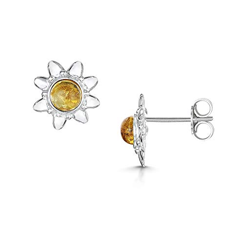 Amberta 925 Sterling Silver with Baltic Amber - Stud Sun Shaped Earrings - Honey Colour from Amberta