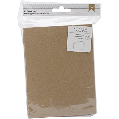 American Crafts A2 Envelopes (4.375-inch x 5.75-inch) 50/Pkg-Kraft, Other, Multicoloured, 3.17 x 11.43 x 19.05 cm from American Crafts