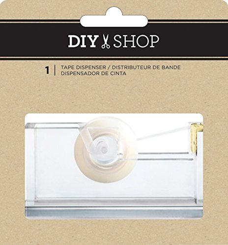 American Crafts DIY Shop 3 Clear Acrylic Tape Dispenser W/Gold, Multicolour, 12.7x11.93x3.81 cm from American Crafts