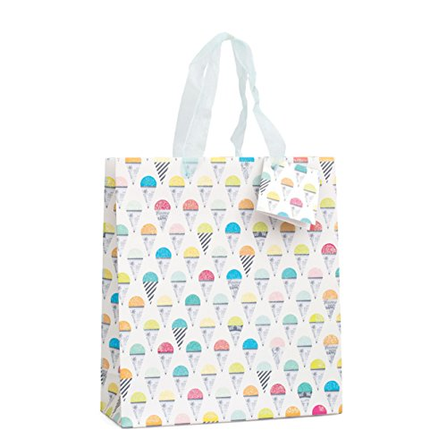 American Crafts Bag with Ribbon Handles and Gift Card 9.5 x 4-inch Multi Ice Cream with Clear Glitter Varnish, Acrylic, Multicoloured, 9.9 x 9.59 x 0.1 cm from American Crafts