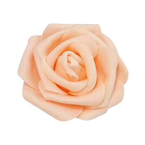 Amesii 50Pcs Artificial Flowers Wedding Bride Bouquet Party Decor Foam Rose Heads - Champagne from Amesii