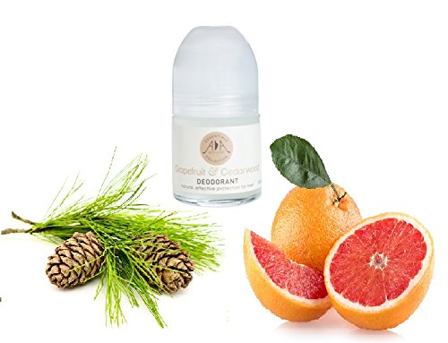 Grapefruit & Cedarwood Natural Roll on deodorant - No aluminium, No alcohol, No synthetic perfumes - Pure essential oils from Amphora Aromatics