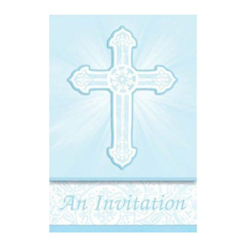 amscan International Communion Blue Folded Invitations, Pack of 8 from amscan