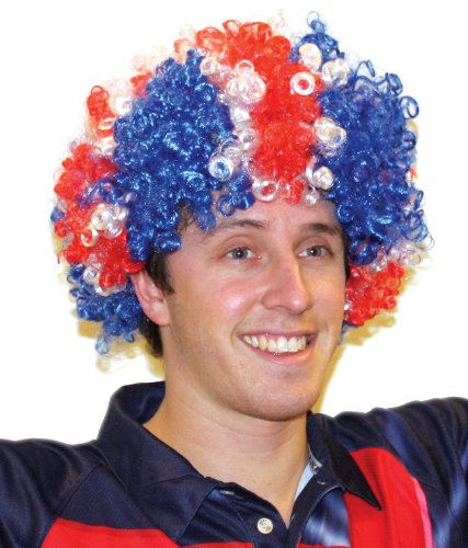 Amscan International 993904 Great Britain Afro Wig - Fits Most GB Decorations, Red, White and Blue, One Size from Amscan International