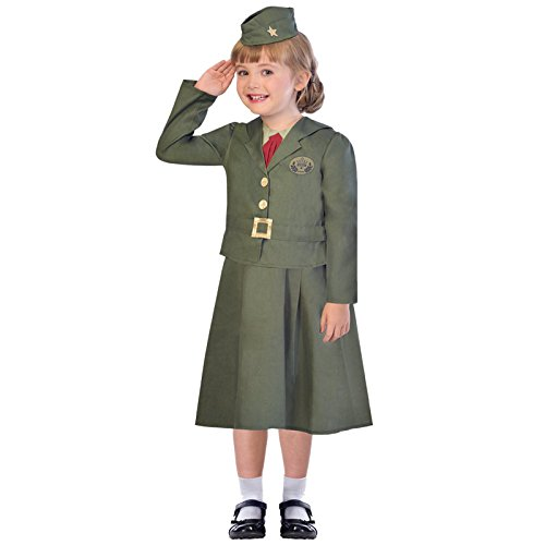 Girls WW2 Soldier Costume Kids World Book Day Fancy Dress from Amscan
