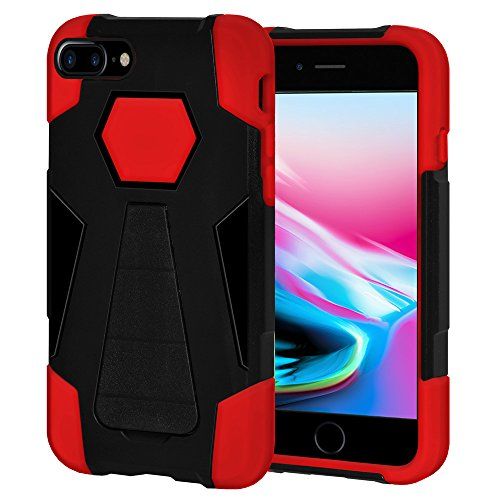 Amzer Dual Layer Hybrid Kickstand Case Cover for Apple iPhone 8 Plus - Black/Red from Amzer