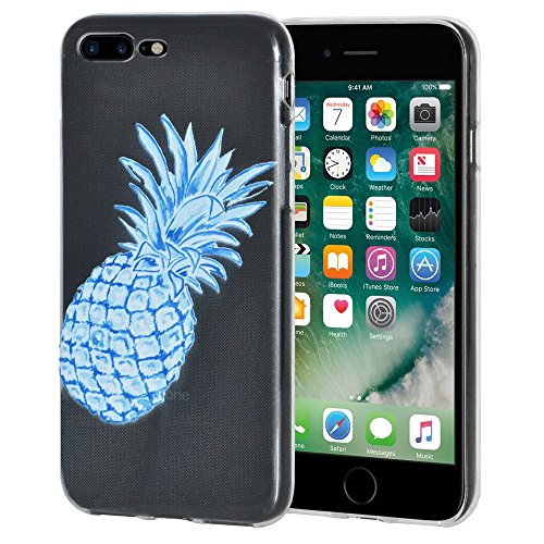 "Amzer ""Modern Blue Pineapple Soft Gel Clear TPU Skin Case for Apple iPhone 7 Plus from Amzer"