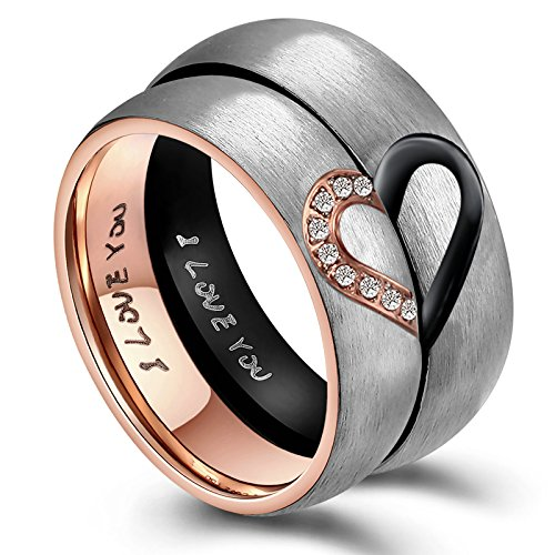 AnazoZ His and Hers 6MM Titanium Engraved I Love You Wedding Engagement Ring from AnazoZ