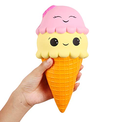 Anboor Squishies Ice Cream Jumbo Squishys Slow Rising Kawaii Smiley Squishies Decompression Toys Prime 1 Pcs 12.5 x 10.5 x 21.5 cm from Anboor