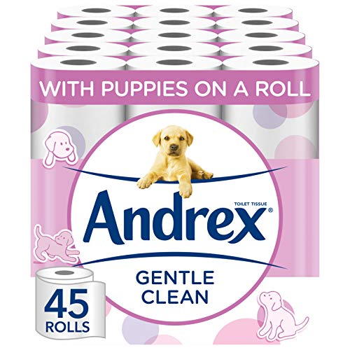 Andrex Gentle Clean, Puppies on a Roll Toilet Tissue Paper - 45 Rolls from Andrex