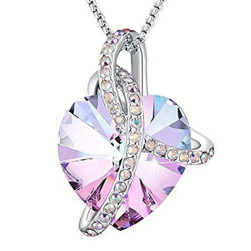 Angelady Pink Heart Pendant Necklaces for Women Crystal from Swarovski in Silver| Jewellery for Women with Cubic Zircon Diamonds Valentine's Day for Daughter Mum Wife Girlfriend from Angelady
