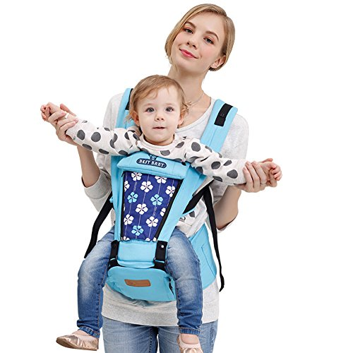Angelparty Flower Printings Safety Hip Seat Baby Carrier | Ergonomic Breathable Sponge Comfortable Pure Cotton | Great Back and Lumbar Support | Suitable for 3-36 Month Babies | Blue from Angelparty