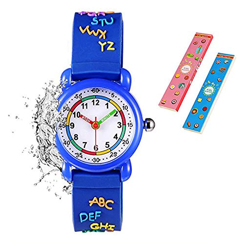 Toddler Girls Boys Watch,Alphabet/Mathematics Gifts for 3-10 Years Old 3D Cute Cartoon Waterproof Silicone Wrist Watches for Little Young Toddler Kids Children Girls Boys(Blue) from Angels'