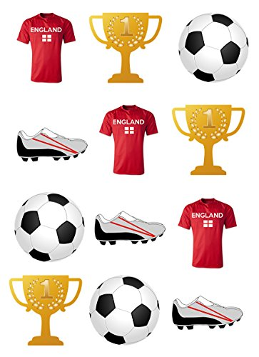PRE-CUT ENGLAND FOOTBALL JERSEY / BOOT/ CUP / BALL EDIBLE RICE / WAFER PAPER CUP CAKE TOPPERS PARTY BIRTHDAY DECORATION from Anglesit Sport