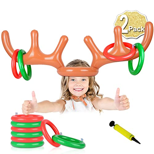 AniSqui 2 Set Inflatable Reindeer Antler Game, (2 Inflatable Antler, 12 Rings Reindeer Ring Toss) Inflatable Reindeer Antler Hat with Rings, Family Christmas Party Games from AniSqui