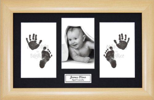 Anika-Baby BabyRice Baby Hand and Footprints Kit includes Black Inkless Prints/ Beech effect Frame with Black Mount Display from Anika-Baby