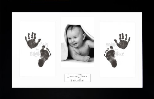 Anika-Baby BabyRice Baby Hand and Footprints Kit includes Black Inkless Prints/ Black Frame with White Mount Display from Anika-Baby