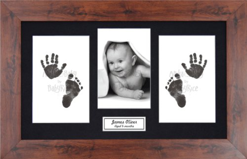 Anika-Baby BabyRice Baby Hand and Footprints Kit includes Black Inkless Prints/ Mahogany effect Frame with Black Mount Display from Anika-Baby