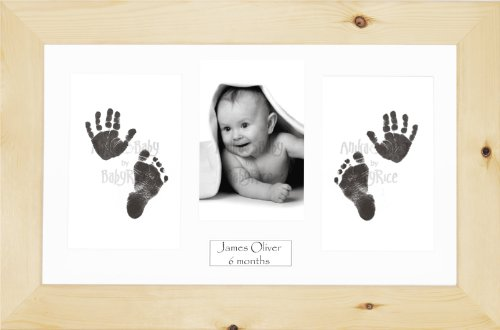 Anika-Baby BabyRice Baby Hand and Footprints Kit includes Black Inkless Prints/ Natural Pine Wooden Frame with White Mount Display from Anika-Baby