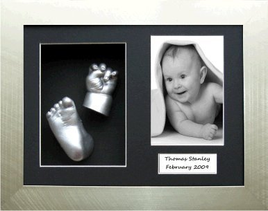 Baby Casting Kit, Brushed Silver Frame with Black Trim with Black 3 hole mount, Metallic Silver Paint by BabyRice from Anika-Baby