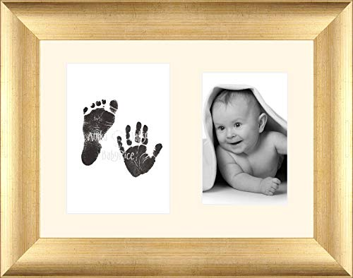 Baby Inkless Hand and Footprint Kit Antique Gold Frame / Cream 2 Hole Mount / Black Prints from Anika-Baby