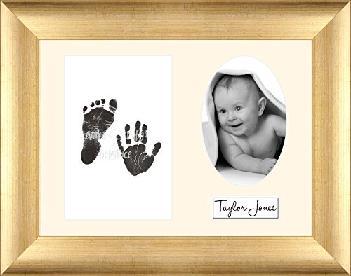 Baby Inkless Hand and Footprint Kit Antique Gold Frame / Cream 3 Hole Oval Mount / Black Prints from Anika-Baby