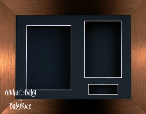 "BabyRice 11.5x8.5"" Brushed Bronze Brown 3D Display Frame / Black 3 hole mount & Backing from Anika-Baby"