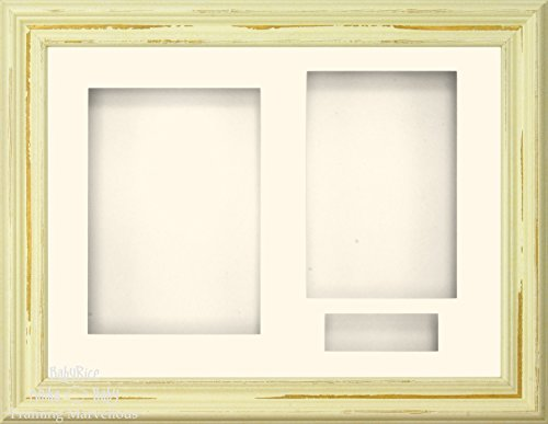 "BabyRice 11.5x8.5"" Shabby Chic effect Ivory Cream 3D Display Frame / Cream 3 hole mount & Backing from Anika-Baby"