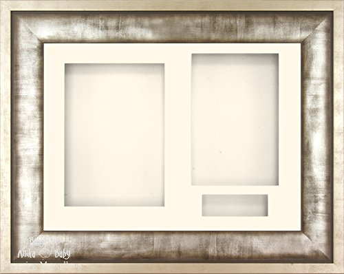 "BabyRice 11.5x8.5"" Urban Silver Grey Metal effect 3D Display Frame / Cream 3 hole mount & Backing from Anika-Baby"