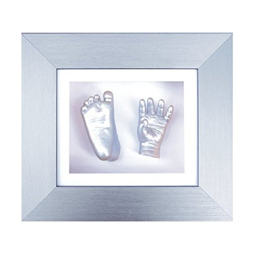 BabyRice 6 x 5-inch Baby Casting Kit with Brushed Silver Effect 3D Box Display Frame (Silver Metallic) from Anika-Baby