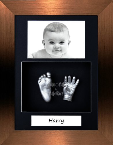 "BabyRice Baby Casting Kit / 11.5x8.5"" Brushed Bronze Frame / Black 3 Hole Portrait Mount / Black Backing / Silver Paint from Anika-Baby"