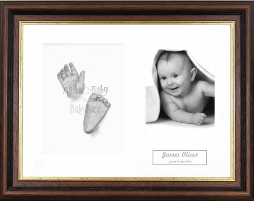 "BabyRice Baby Casting Kit / 11.5x8.5"" Mahogany/Gold Trim Frame / White 3 Hole Mount / White Backing / Silver Paint from Anika-Baby"