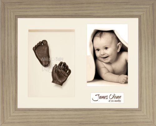 "BabyRice Baby Casting Kit / 11.5x8.5"" Oak Effect Frame / Cream 3 Hole Mount / Cream Backing / Bronze Paint from Anika-Baby"