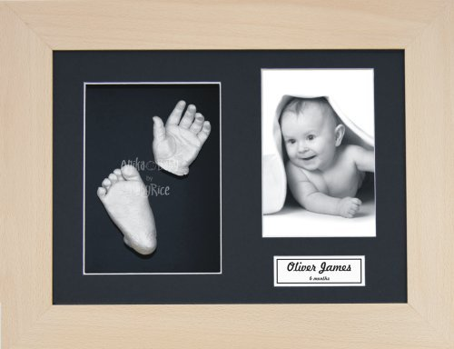 "BabyRice Baby Casting Kit / 11.5x8.5"" Real Beech Wood Frame / Black 3 Hole Mount / Black Backing / Silver Paint from Anika-Baby"