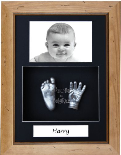 "BabyRice Baby Casting Kit / 11.5x8.5"" Rustic Pine Frame/Black 3 Hole Portrait Mount/Black Backing/Silver Paint from BabyRice"