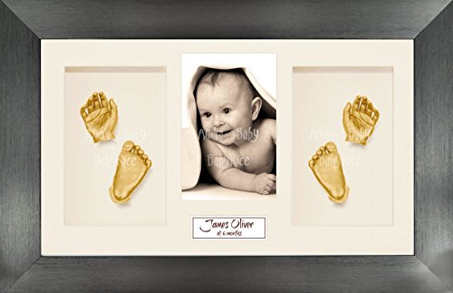 "BabyRice Baby Casting Kit / 14.5x8.5"" Brushed Pewter Frame / Cream 4 Hole Mount / Cream Backing / Gold Paint from Anika-Baby"