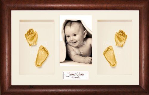 "BabyRice Baby Casting Kit / 14.5x8.5"" Dark Wood Frame / Cream 4 Hole Mount / Cream Backing / Gold Paint from Anika-Baby"