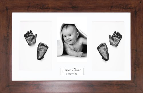 "BabyRice Baby Casting Kit / 14.5x8.5"" Mahogany Effect Frame / White 4 Hole Mount / White Backing / Pewter Paint from Anika-Baby"